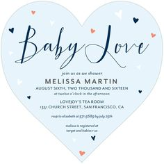 Lovely Hearts - Heart Shaped Baby Shower Invitations in Chenille or Stream | Magnolia Press