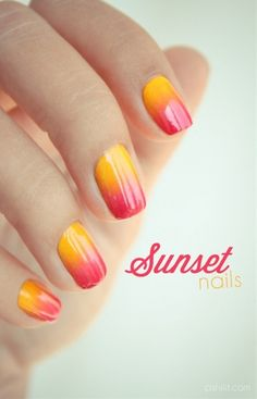 Sunset nails - Click image to find more nail art posts
