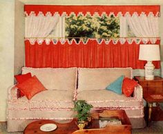 I'm attempting to do a some what 50's style kitchen. I want these curtain in the window but in a cute white/cherry print fabric with lime green trim...