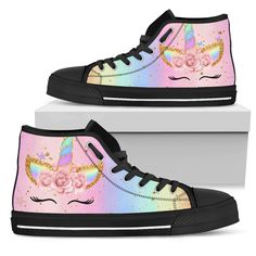 Funny Unicorn High Top Shoes – Gift For Crush Unicorn Fashion, Unicorn Outfit, Cute Shoes For Kids, Kids Outfits, Cute Outfits, Painted Shoes, Top Shoes, Converse Shoes High Top, Girls Shoes