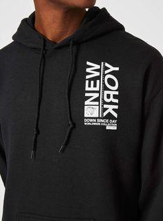 Black New York Print Oversized Hoodie