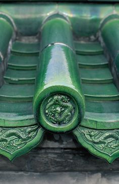 Green roof tile from the Temple of Heaven, Beijing, China Bastet, Asian Architecture, Ancient Architecture, Residential Architecture, Contemporary Architecture, Modern Roofing, Corrugated Roofing, Fibreglass Roof, Roof Detail