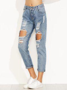Jeans Con Risvolto Strappati - Blu