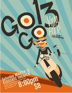 Micah Player Gogo13 gig poster. Great colors, great motion to the illustration. #vespa #mod