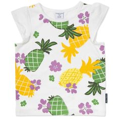 Love this! at Polarn O. Pyret UK & Ireland TROPICAL KIDS TOP #polarnopyretuk #qualitychildrensclothes #colourfulkidsclothes Short-sleeve plain top with a summery print on the front. Ruffle detail sleeves.