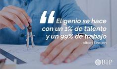 """Frase célebre de Albert Einstein: """"El genio se hace con un 1% de talento y un 99% de trabajo"""". Albert Einstein, Famous Taglines, Motivational Quotes, Einstein Quotes, Life Motto, Mottos, Finance, Learning"""