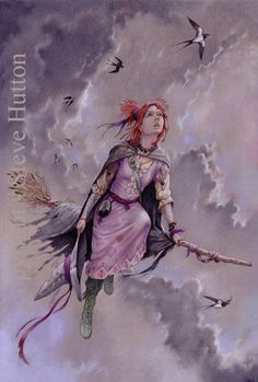 'Ruthie Comfort' (by Steve Hutton) of Wildwood-coven wearing the colours of season Flower-Forth. While out on a routine flight with her lightning-staff, Ruthie notes with sadness that the first of the summer's swallows are departing these shores as autumn approaches.