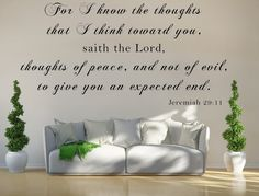 Jeremiah 29:11 KJV Vinyl Wall Scripture For I Know The Thoughts That I Think Toward You Custom Vinyl Lettering Custom Wall Decal Bible Quote