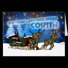 Cousin Gothic Christmas Card, H.I.P. And Reindeer