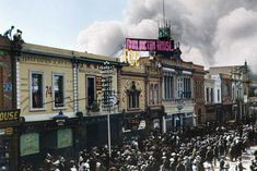 A colourised historical photograph of smoke rising from the John Martin's department store in Adelaide, Olympic Size Pool, All The Mods, Swimming Coach, University Of Adelaide, City Of Adelaide, Adelaide South Australia, Store Window Displays, John Martin, Vintage Photographs