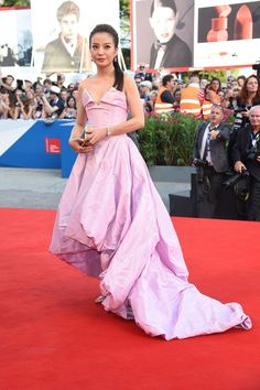 Zhao Wei wearing a Vivienne Westwood Couture gown for the Birdman Premiere