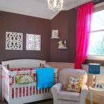 Lovely wall color accented well with hot pink, green, and bright blue.