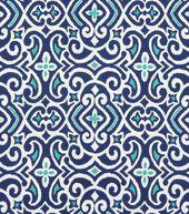 Home Decor Print Fabric-Robert Allen New Damask-Marine
