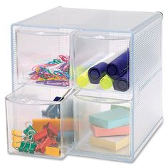 Storage organizer features four drawers to hold small items, such as clips, rubber bands, pins and more. Drawers open independently and are fully removable.
