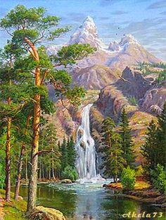 Водопад в горах more