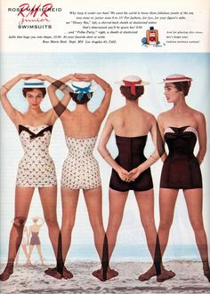 The front and back views of two white and brown 1950s Rose Marie Reid swimsuits.