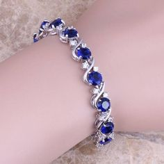 Blue Sapphire White Topaz 925 Sterling Silver Overlay Link Chain Bracelet 7 inch For Women Free Shipping & Jewelry Bag S0264A