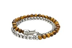 Mens-Steel-and-Yellow-Tigers-Eye-Wrap-Around-Bracelet-with-Steel-Clasp-from-Jools