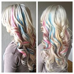 Pastel pink blue highlights hair coloring