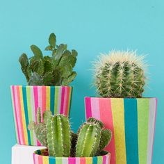 IKEA Hack - colourful tissue decoupage pots by @tellloveandparty
