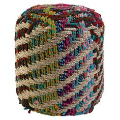Jute and fabric pouf.  Product: PoufConstruction Material: Jute and braided fabricColor: Multi