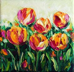Original Oil Painting of Tulips Abstract Flower Textured Impasto Palette Knife Painting on Small 6x6 inches Canvas. Very affordable piece of art that