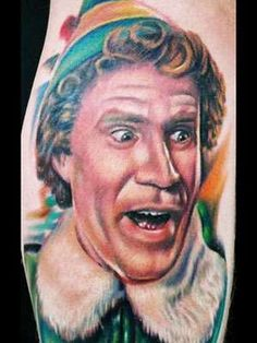 A speechless Buddy. / 25 Hilarious Tattoos Of Will Ferrell You Won't Believe Are Real (via BuzzFeed)