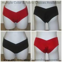 Boyshorts: Buyers choose from a variety of fabrics and colors. #rave #music #festival #club #ravewear #clubwear #dance #gogo #dancer #edm #plur #edc #umf #custom #bra #tutu www.etsy.com/shop/loveandrageapparel