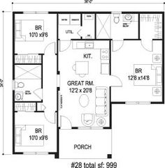 Make master bed/bath smaller so kitchen/greatroom can be bigger utility closet…