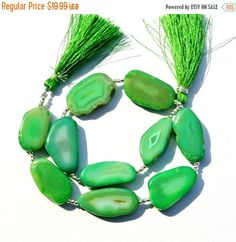 12% Valentine Day 10Pcs Chrysoprase Green Agate by RareGemsNJewels