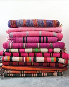 Stripes, Prints, Inspiration  Constance's collection of vintage Moroccan blankets.