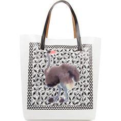 MARNI EDITION Ostrich Square shopper (White multi
