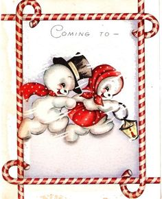 Vintage Christmas Card Snowman Couple Candy Cane Frame
