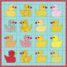 Maartje Quilts in Amsterdam: Moka pot and rubber ducks./Duck block free paper piece pattern/ I know a certain grandson would like this Quilt Baby, Baby Quilt Patterns, Paper Piecing Patterns, Owl Patterns, Mini Quilts, Cute Quilts, Easy Quilts, Children's Quilts, Farm Quilt