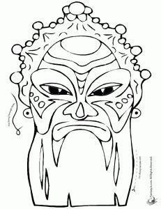Chinese Mask Coloring Page Or Colored Printables Craftjr