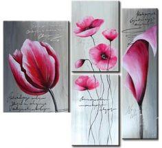 Risultati immagini per imagenes de cuadros modernos Small Canvas Paintings, Watercolor Paintings, Pink Tulips, Purple Flowers, Mini Tela, Panel Art, Art Floral, Calla Lily, Flower Wall