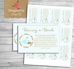 Bring a Book baby shower insert Dinosaur baby by DesignedbyDaniN