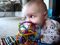 Puppy teaches baby to use teething ring huff.to/ADKDZL