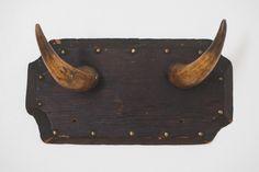 rustic antique bull horns