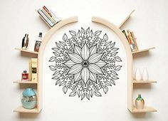 Mandala Wall Decal Namaste Indian Lotus Flower Yoga Ornament Geometric Moroccan Pattern Wall Vinyl Decals Sticker Home Decor Mural Design Graphic Bedroom (6066)