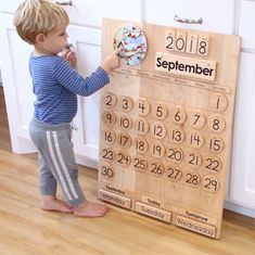 This School Calendar -- Wooden Perpetual Calendar -- From Jennifer is just one of the custom, handmade pieces you'll find in our home & living shops. Classroom Calendar, School Calendar, Kids Calendar, Wooden Calendar, Homeschool Kindergarten, Homeschool Supplies, Perpetual Calendar, Montessori Toys, Montessori Toddler