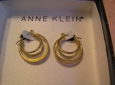 Anne Klein Triple Hoop Gold Earrings Vintage by SevenSistersBooks