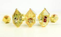 Vintage Plastic Hexagon Christmas Ornaments w/ diorama scenes