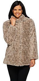 Dennis Basso Shawl Collar Textured Faux Fur Jacket