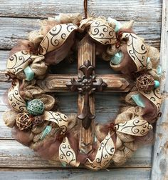 Rustic Western Inspired Cross Wreath by HomemadeSouthern on Etsy, $125.00