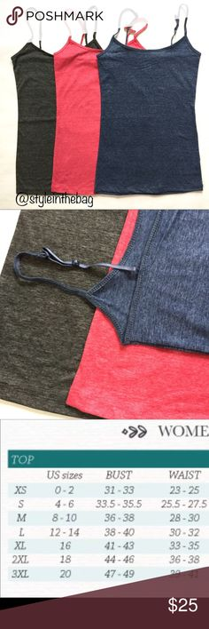 JUST IN! NEW S,M,L 3 Pc Cami Tank Set Heatherd Listing is for a 3 pc set of all same size camisole tanks. Set includes one of each color: heather grey, hot pink, true blue. Adjustable straps. Choose size at checkout or adding to a bundle. Regular length (long length items also available in my shop in other listings). 95% cotton 5% spandex.   CAMI TANK W/ ADJUSTABLE SPAGHETTI STRAPS LENGTH: S-18.5'', M-19'', L-19.5''  undershirt, tank top, cami top, tee, t-shirt, camisole, bundle, spring…