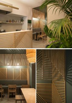 Wooden wall decor creates an interesting look for this modern restaurant in Paris.