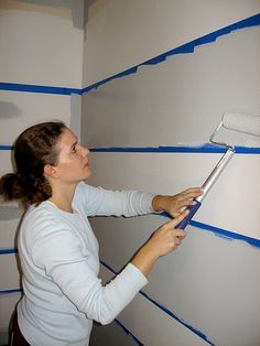 to Paint Stripes on a Wall How to Paint Stripes. I like the tips for avoiding paint bleeding through the tape!How to Paint Stripes. I like the tips for avoiding paint bleeding through the tape! Painting Tips, House Painting, Paint Stripes, Wall Stripes, Striped Walls, Baby Boy Nurseries, My New Room, Boy Room, Home Projects