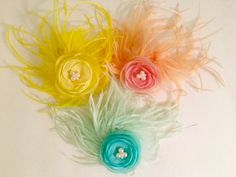 Organza Flower Feather Fascinator Hair by FancyGirlBoutiqueNYC