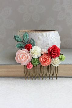 Bridal Hair Comb Bright Red Rose Comb Green and by apocketofposies